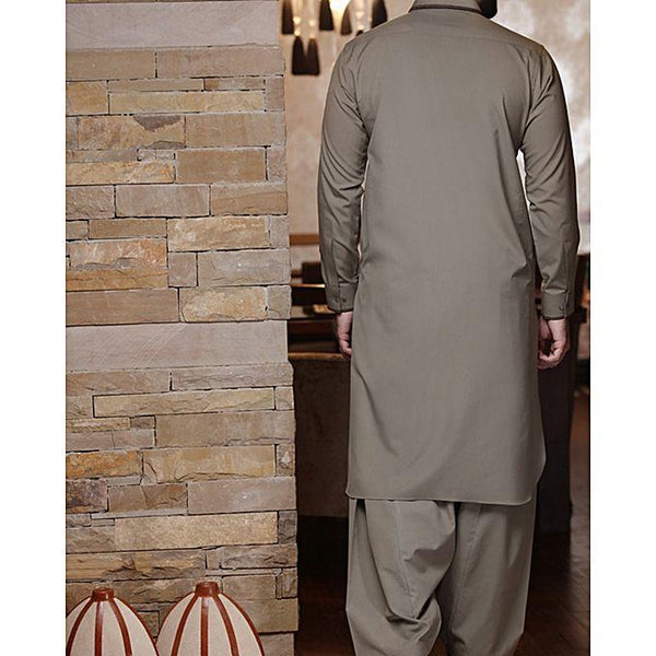 Almirah Army Green Cotton Kameez Shalwar- Wasim Akram Collection Vol.04-2029 for Men Tajori