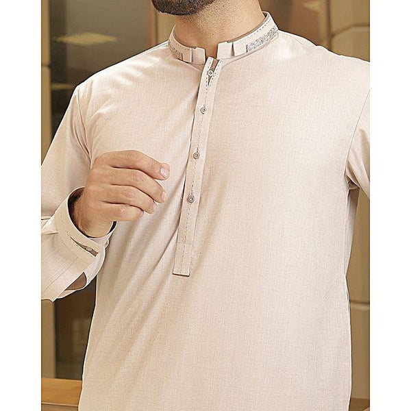 Almirah Beige BLENDED Kameez Shalwar for Men Tajori
