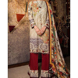 Almirah Beige-Stitched C-3Pc Light Emb. Impure Chiff Dupt-Winter Collection Vol.04 for Women Tajori