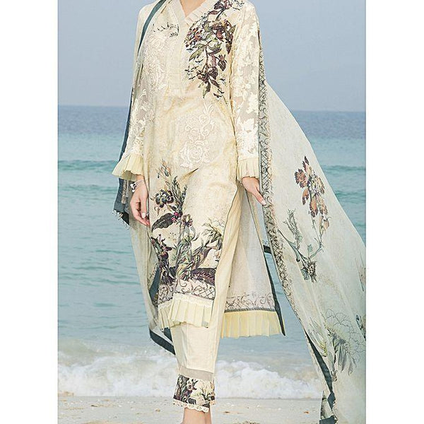 Almirah Beige Unstitch 3 Piece LAWN For Women - Spring Summer Collection Vol.01 2018 Tajori