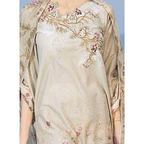 Almirah Biege LAWN Stitched Suit for Women Tajori