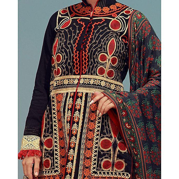 Almirah Black Cambric 3 Pc Unstitch Suit-Winter Collection Vol.04 for Women Tajori