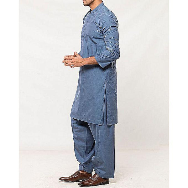 Almirah Blue Cotton Executive Kurta Shalwar fit for Men Tajori