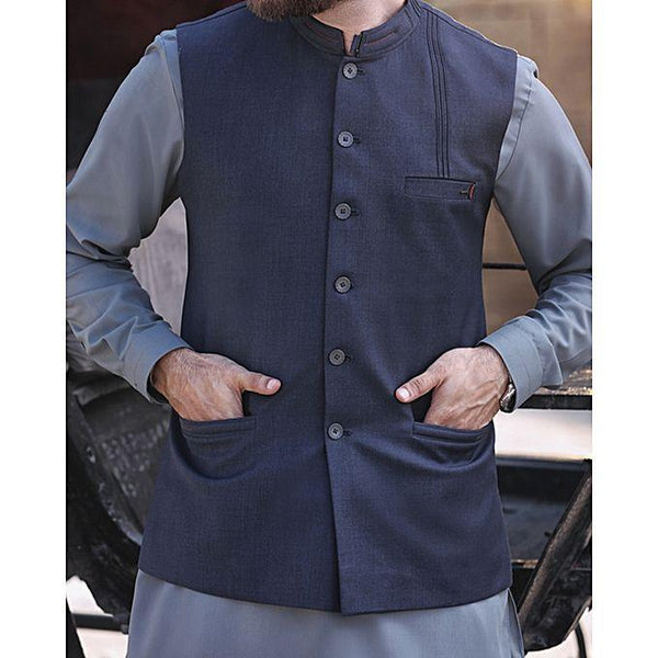 Almirah Blue Cotton Stitched Waistcoat-Winter Collection Vol.04 for Men Tajori