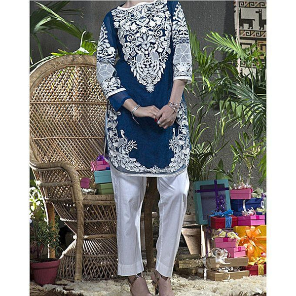Almirah Blue DOBBY NET AL-Ladies S-1Pc Heavy Emb./SC fit Tajori
