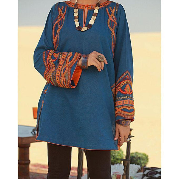 Almirah Blue KARANDI AL-Ladies S-1Pc Heavy Emb./SC fit Tajori