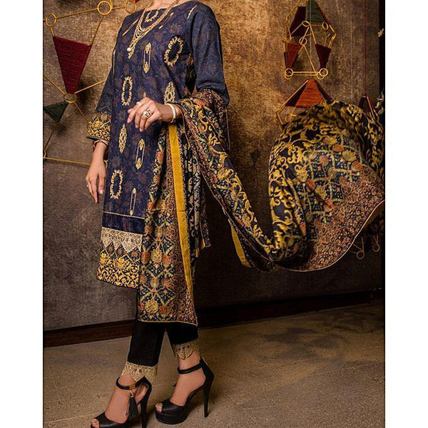 Almirah Blue Khaddar 3 Pc Unstitch Suit-Winter Collection Vol.04 for Women Tajori