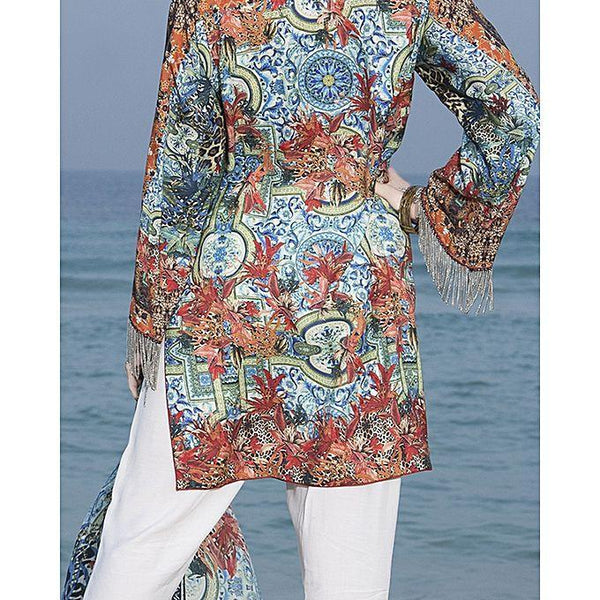 Almirah Blue Viscose Stitched Suit For Women - 3 Piece Tajori