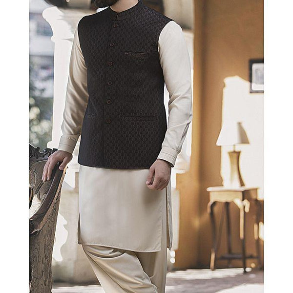 Almirah Brown BLENDED WaistCoat For Men - Spring Summer Collection Vol.01 2018 Tajori