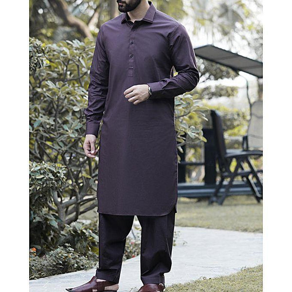 Almirah Brown Cotton Kameez Shalwar- Wasim Akram Collection Vol.04-2017 for Men Tajori