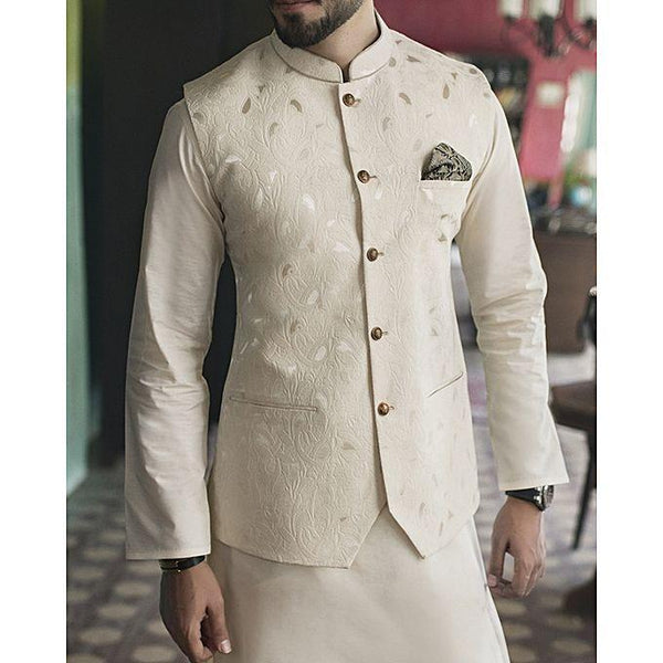 Almirah CREAM BLENDED WaistCoat For Men - Spring Summer Collection Vol.01 2018 Tajori