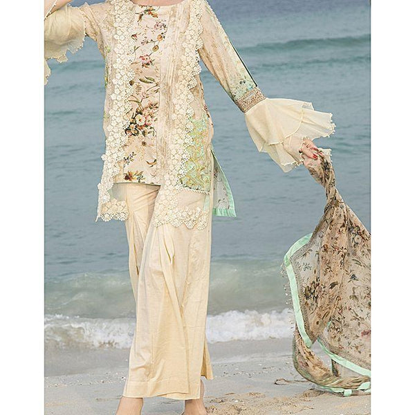 Almirah CREAM Unstitch 3 Piece LAWN For Women - Spring Summer Collection Vol.01 2018 Tajori