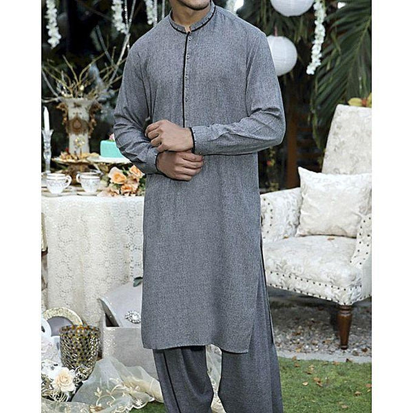 Almirah Grey Blended Fabric Executive Kurta Shalwar fit 00M Tajori