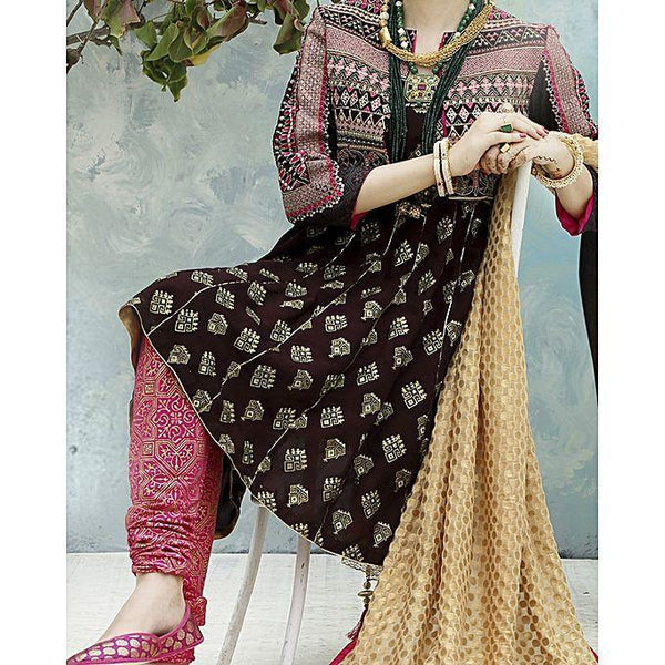 Almirah Mehroon COTTON SILK 2Pc Light Emb.-No Dupatta fit for Women Tajori