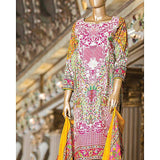 Almirah Multi Color 3 Pc Heavy Embroidered Unstitched Fabric with Silk Dupatta for Women Tajori