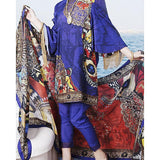 Almirah Multi Color Viscose Unstitched Suit For Women - 3 Piece Tajori
