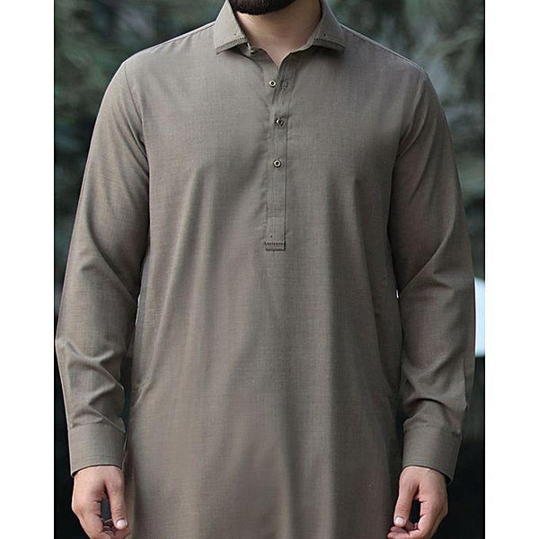 Almirah Olive Green Cotton Kameez Shalwar- Wasim Akram Collection Vol.04-2020 for Men Tajori