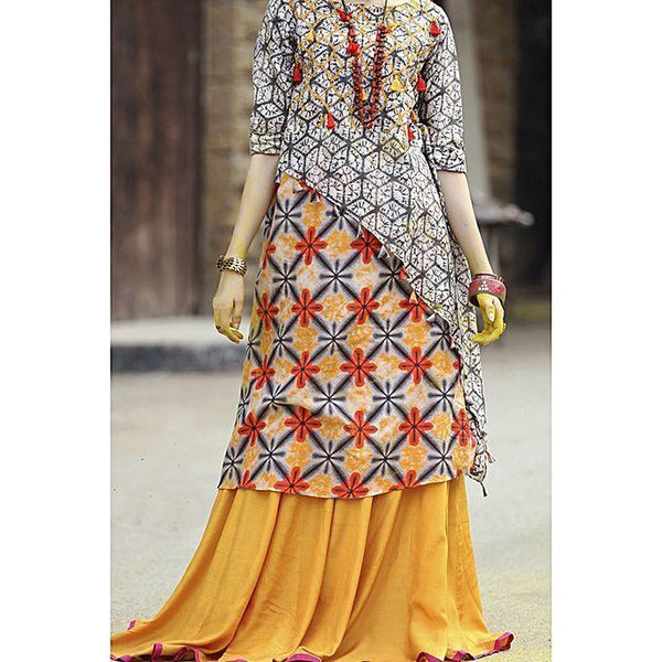 Almirah Orange Dobby Net Ladies Kurti for Women Tajori