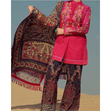 Almirah Purple KHADDAR 3Pc Light Emb. Impure Chiff. Dupt fit for Women Tajori