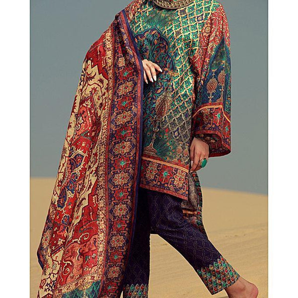 Almirah Red Cambric 3pc Stitched Suit-Winter Collection Vol.04 for Women Tajori