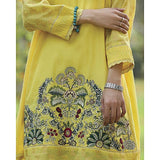 Almirah Yellow Jacquard Kurti for Women Tajori