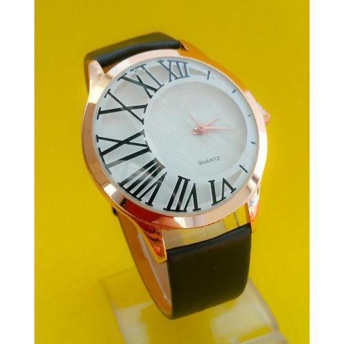 Analog Black Leather Watch Tajori