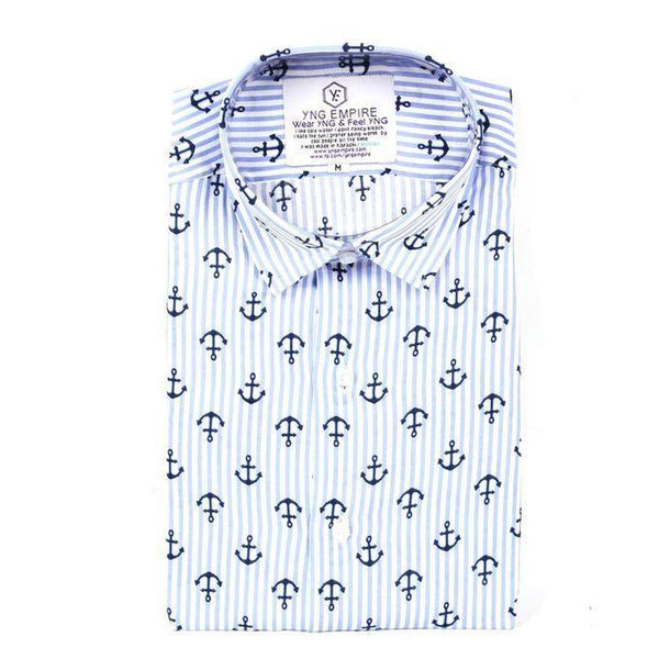 Anchor Malai Linen Blue Shirt for Men Tajori