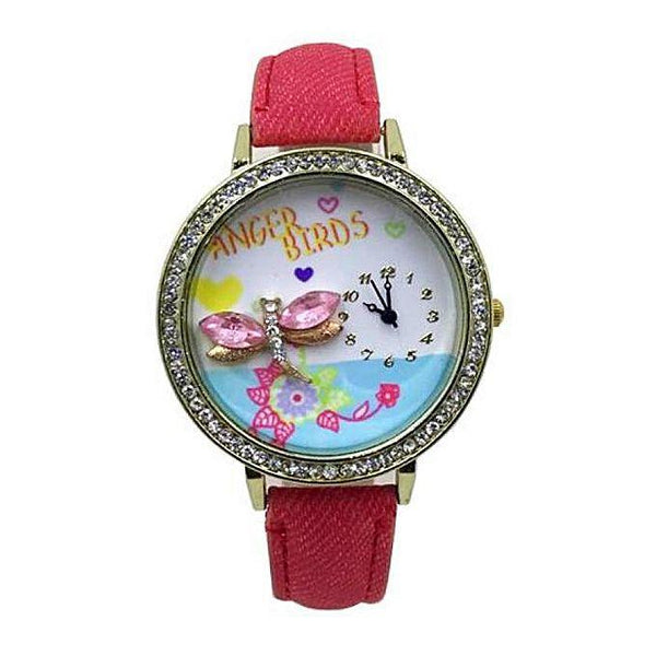 Anger Birds Red Denim Straps Analog Watch For Her Tajori