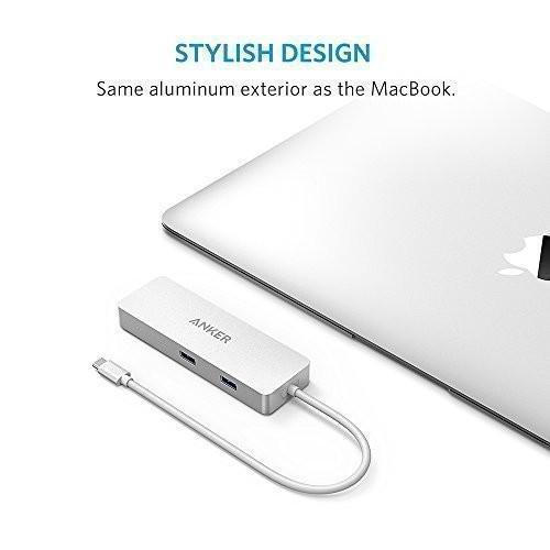 Anker 4-Port USB-C Portable Data Hub, with a Premium Power Delivery Charging Port and Gigabit Ethernet Included for MacBook Pro 2016, Chromebook Pixel and Other Devices Tajori