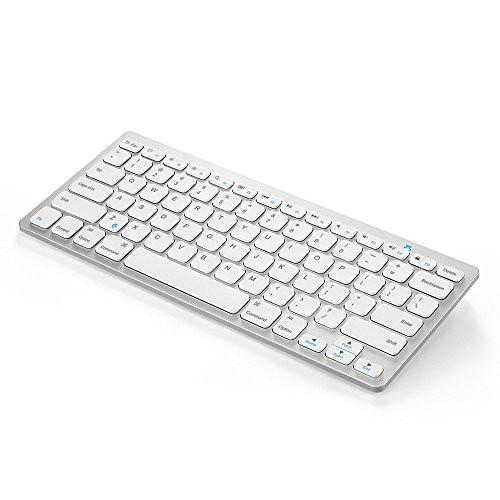 "Anker Bluetooth Ultra-Slim Keyboard for iPad Air 2 / Air, iPad Pro, iPad mini 4 / 3 / 2 / 1, iPad 4 / 3 / 2 , New iPad 9.7""(2017), Galaxy Tabs and Other Mobile Devices (White) Tajori"