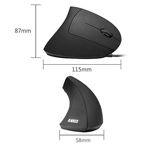Anker Ergonomic Optical USB Wired Vertical Mouse 1000/1600 DPI, 5 Buttons CE100 Tajori