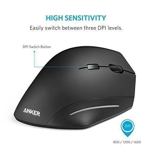 Anker Ergonomic USB 2.4G Wireless Vertical Mouse with 3 Adjustable DPI Levels 800 / 1200 / 1600 and Side Controls Tajori