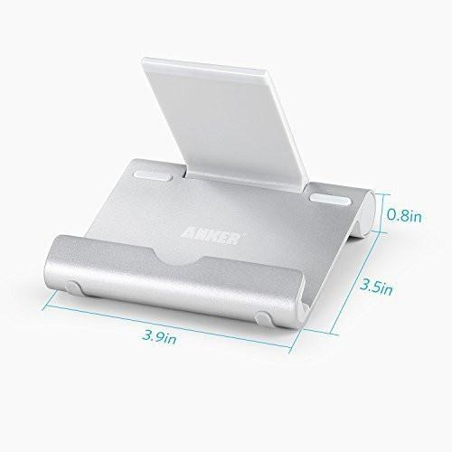 Anker Multi-Angle Aluminum Stand for Tablets, e-readers and Smartphones, Compatible with iPhone, iPad, Samsung Galaxy / Tab, Google Nexus, HTC, LG, Nokia Lumia, OnePlus and More (Silver) Tajori