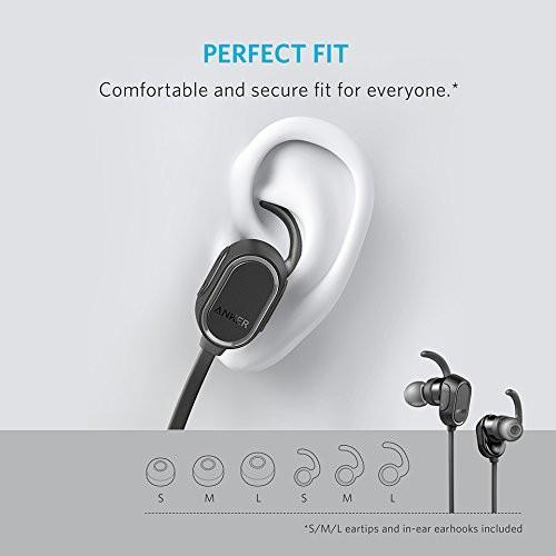 Anker SoundBuds Wireless Headphones - Sweatproof, Magnetic In-Ear Sport Earbuds with 8-Hour Playtime and Noise Cancellation, Secure Fit Bluetooth Headset for Running, Workout and Gym Tajori