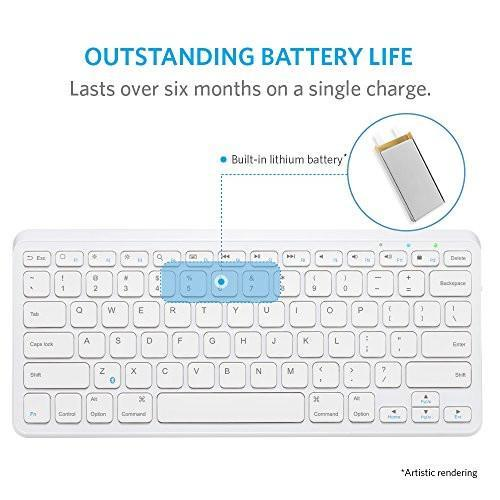 "Anker Ultra Compact Slim Profile Wireless Bluetooth Keyboard with Rechargeable Battery [Compatible with New iPad 9.7"" (2017)] - White Tajori"