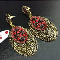 Antique Earring in Round Shape with Red and Maroon Stones, Light Weight Tajori