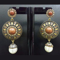 Antique Earring with Drop Pearl in Brown Tone Tajori
