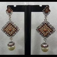 Antique Earrings with Brown Stones and Pearl Tajori