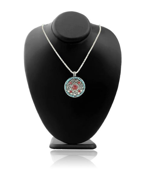 Antique Silver Steel & Stone Necklace For Women - JP-2939 Tajori