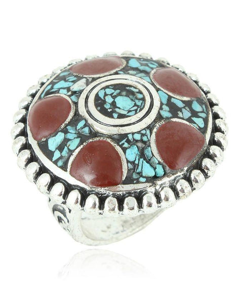 Antique Silver Steel & Stone Ring For Women - JP-2944 Tajori