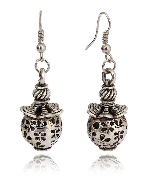 Antique Silver Steel Women Earrings - JP-3039 Tajori