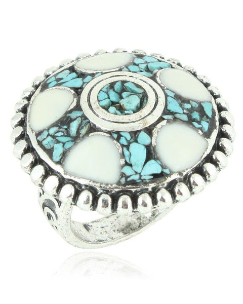 Antique White Steel & Stone Ring For Women - JP-2957 Tajori