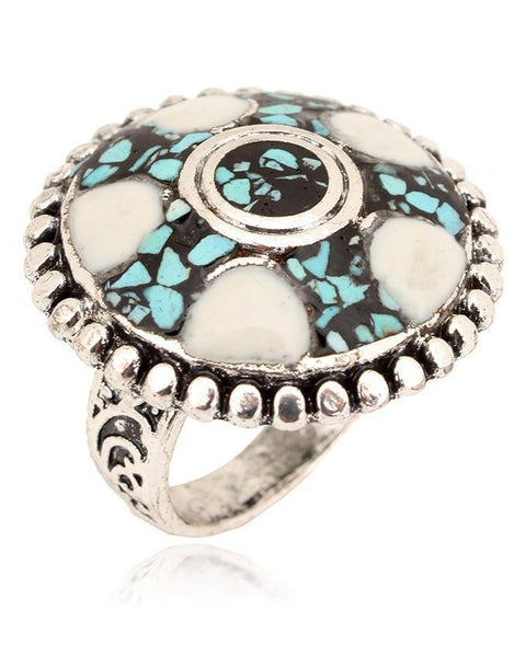 Antique White Steel With Stone Ring For Women - JP-2958 Tajori