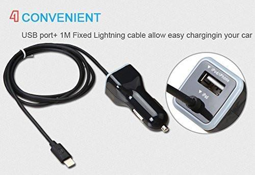 [Apple MFI Certified] Lighting Car Charger with Extra USB Port Tajori