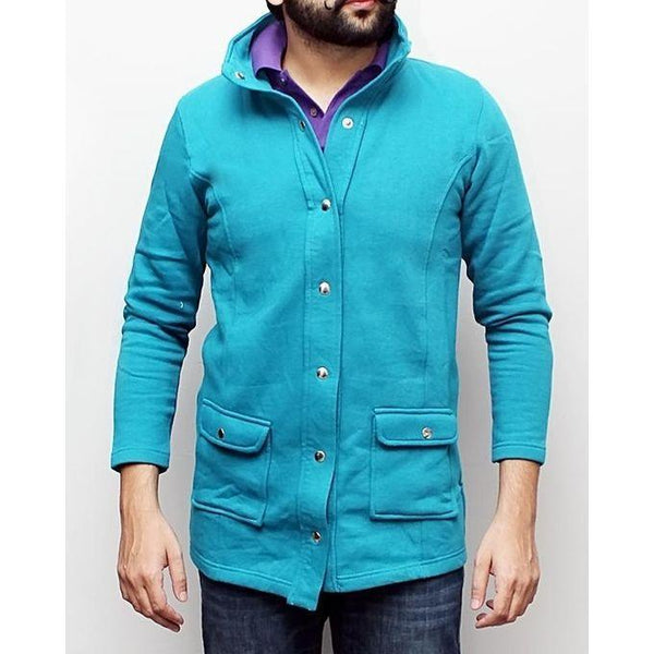 Aqua Blue Coat for Men Tajori