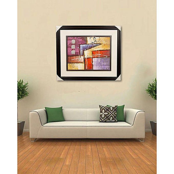 "Artist Made Wall Decor Painting - 27x23"" - Dark Brown Tajori"