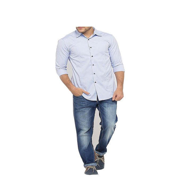 Asset Formal Blue Fine Cotton Shirt for Men - L Tajori