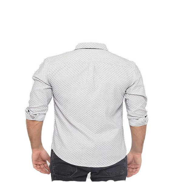 Asset Grey Self Fabric Shirt with Black Contrast for Men - M Tajori
