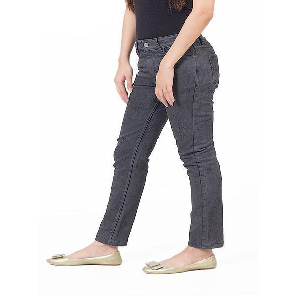 Asset Grey Shaded Stretchable Cotton Skinnies for Women - 26 Tajori