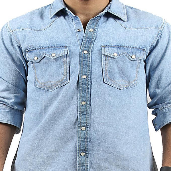 Asset Ice Blue Denim Shirt with Snap Buttons for Men - M Tajori